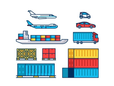 Mode of Transport line illustration vector scene icon set info world tracking technology storage cargo transportation box boxes truck container shipping boat car airplane