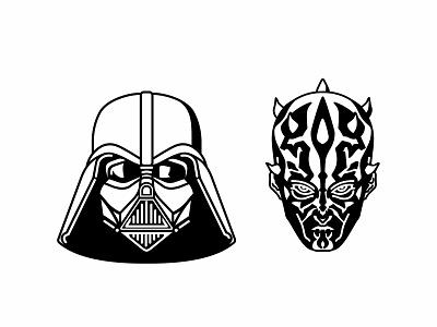 Darth Vader   Maul yoda villains superheroes stormtrooper star wars r2d2 mask kylo ren emoji set icons force flat faces emoj droid darth vader cute colorful character 2d