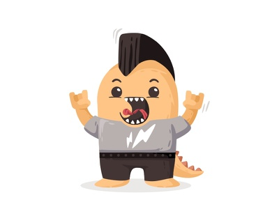Rock Monster 🤘 illustration performance playingguitar rocking microphone jacket hair beat sing rockstar rocker rock music monster mohawk guitar flat cutte character avatar