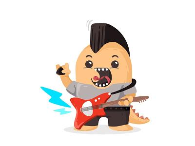 Rock Monster sing rockstar rocking rocker rock playingguitar performance music monster mohawk microphone jacket illustration hair guitar flat cutte character beat avatar