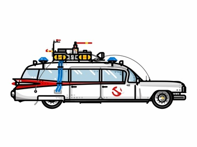 Ecto-1 dots line minimal nostalgia new york flat ghost film comedy ambulance wheels vehicle vector sirens movie lights illustration ghosts ghostbusters ecto-1 car 80s