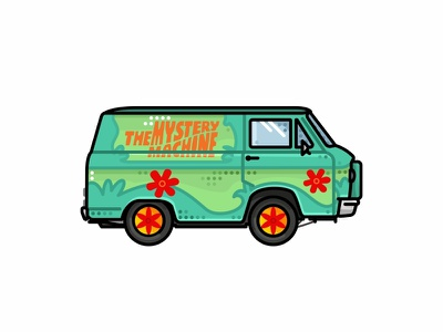 Mystery Machine pop cars music groovy love transport cartoon van vehilce 2d. line zombie vector texture scooby doo retro mystery machine illustration horror halloween ghost
