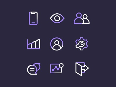 Icons Outline outline interface design icon landing page branding project iconography asset system icon business log out settings live monitoring insight users members visitors interactions system illustrations vector icons icon set