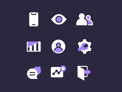Icons Two Tone visitors users system icon settings system outline members log out monitoring live landing page icon interface design interactions insight illustrations icon set asset icons iconography business branding project