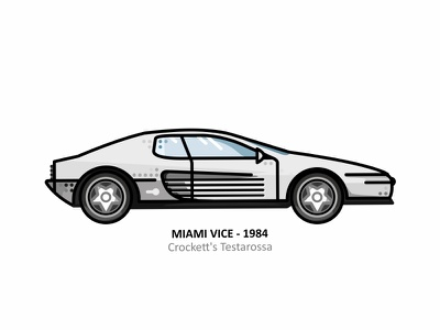 Crockett's Testarossa television pop culture palm trees cityscape neon colors tv show florida sticker. retro 80s 70s miami vice vector illustration line dots speed super car car crocketts testarossa