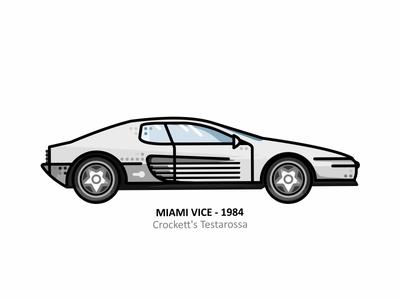 Crockett's Testarossa television pop culture palm trees cityscape neon colors tv show florida sticker. retro 80s 70s miami vice vector illustration line dots speed super car car crocketts testarossa
