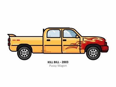 Pussy Wagon outline vehicle almigor dots line design vector truck icon black mamba uma thurman tarantino killbill kill illustrator car ai