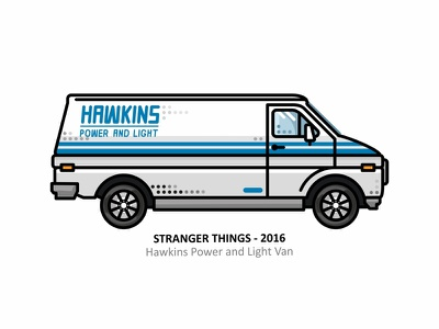 Hawkins Power and Light Van dots outline line car van hawkins power and light van tv show stranger things netflix mike lucas illustration eleven dustin character design character badass girl 80s