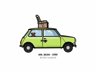 British Leyland movie cute fun retro legend car british leyland car outline line dots uk sticker mule sticker rebound mr bean mini illustration england austin mini austin