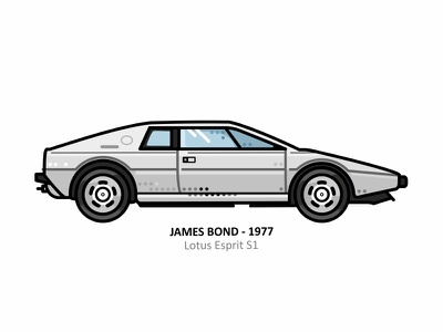 Lotus Esprit S1 famous retro iconic outline dots line design illustration lotus esprit s1 white automobile starcars movie seventies james bond movie car bond aquatic 007