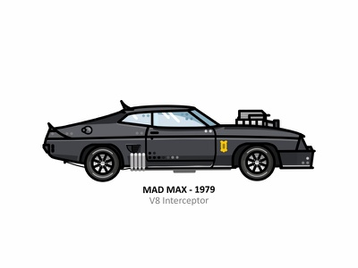 V8 Interceptor apocaliptic road warrior speed vector movie v8 interceptor illustration design outline dots fast line minimal mad max fury road fan car art