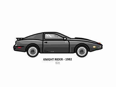 Kitt outline dots line fast speed smart vehicle street road movie kitt illustration film ghost flat design car