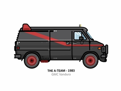 Gmc Vandura a team van vehicle speed rock road outline movie line gmc vandura flat film fast dots design car
