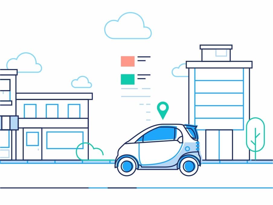 City Driving Part 1 outline location smart drive city buildings route navigation illustration gps driving driver dmit car assistant