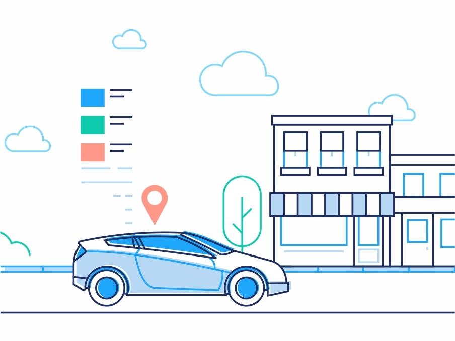 City Driving Part 2 drive smart route outline navigation location illustration gps driving driver dmit city car buildings assistant