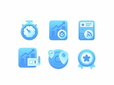 Icon Set No.4 illustration design news feed stock money award badge location map statistic chart time clock icon set icons