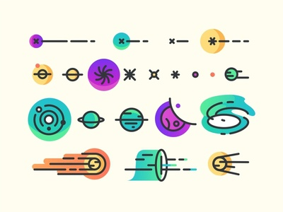 Space Icon set icon set moon solar system galaxy web ui ux stars space sign up rocket planet landing page gradient develop discover cosmos