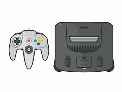 Nintendo 64 icon set super nintendo 90s retro icon console cartridge mario system video game vector video games nintendo 64 n64 illustrtion gaming