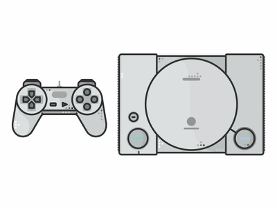 Playstation Classic icon set console sony playstation retro joystick illustration gaming game video gamepad game design controller 90s 80s