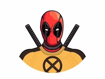 X Man Deadpool xman x-man deadpool wade wilson vector superhero sticker movie marvel art line illustration deadpool cute comic