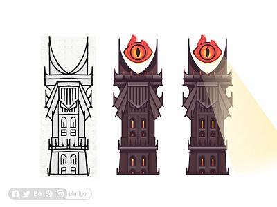 Barad Dur 👁 the eye of sauron art illustration design outline shire nazgul gandalf frodo bilbo ring sauron hobbits badge tower eye barad-dur lotr mordor eye of sauron