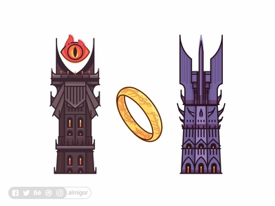 The Two Towers the two towers the eye of sauron shire sauron ring outline nazgul mordor lotr illustration hobbits gandalf frodo eye of sauron eye design bilbo barad-dur badge art