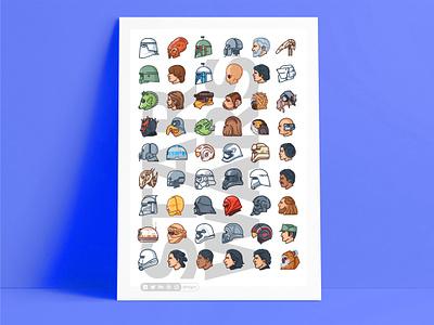 Starwars Poster yoda villains superheroes stormtrooper star wars side view r2d2 mask icons force flat faces emoji set emoji droid darth vader cute colorful character 2d