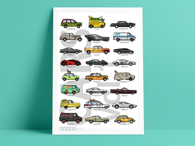 Car Poster 🚗🚙 illustration design line outline jurassic park tmnt blade runner mad max scooby doo mr. been back to the future batman ghostbusters retro poster iconic fast cars icon set car james bond kill bill