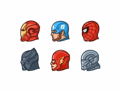 Superheroes marvel movie illustration design guardians of the galaxy outline heads avengers black panther thor flash captain america spiderman iron man the avengers fight villains superheroes