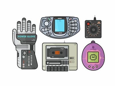 Retro stuff atari video vector colors arcade outline oldie joystick console tech phone nokia ngage tamagotchi power glove gaming retro games