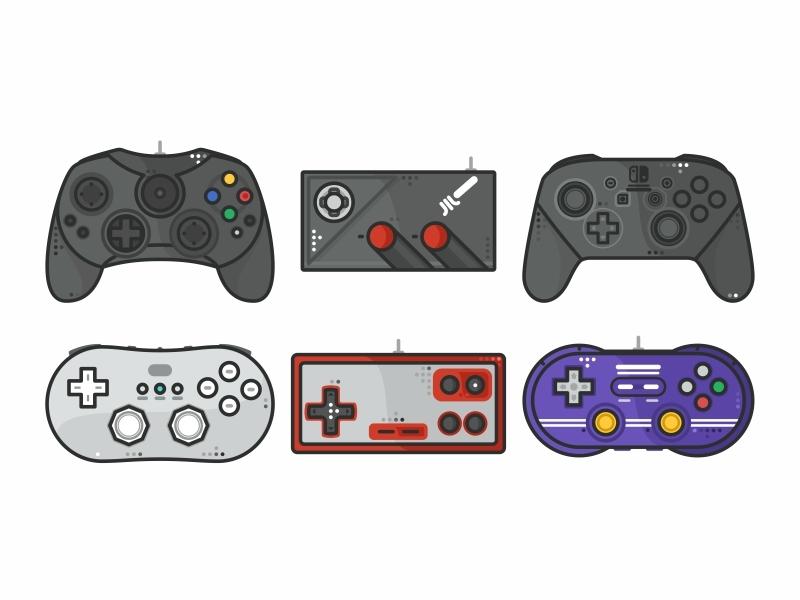 Random Joystick vector retro games outline console stickers retro nintendo joystick illustration gaming video game design atari arcade 90s 80s