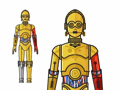 C-3PO yoda villains superheroes stormtrooper star wars r2d2 mask k-2so icons force flat faces emoji set c3po droid darth vader cute colorful character 2d