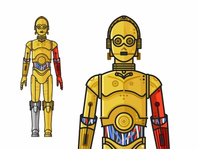 C-3PO yoda villains superheroes stormtrooper star wars r2d2 mask k-2so icons force flat faces emoji set c3po droid darth vader cute colorful character 2d