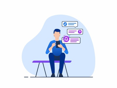 Notification 🔔 interface technology assistance flat message chat user social sketch series character playing notification mobile games drawing apps animation