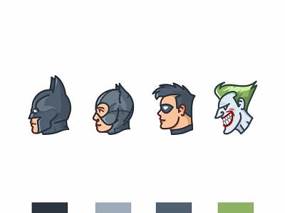 Batman 🦇 character design btas robin vintage vector the dark knight superhero retro nostalgia movie line illustration icon hero catwoman design dc comic joker batman