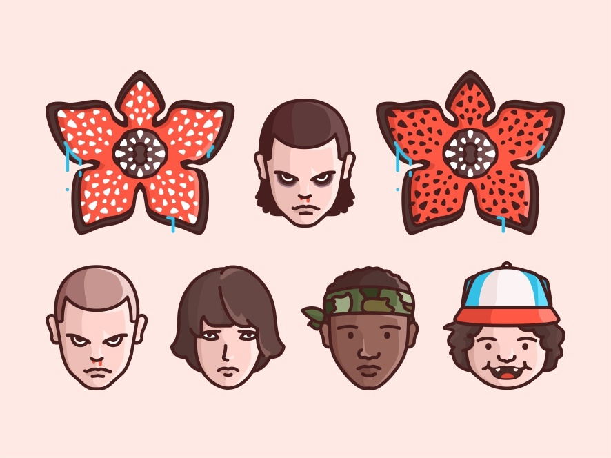 Stranger Things horor face demogorgon tv show things stranger netflix mike lucas illustration eleven dustin design character girl badass 80s