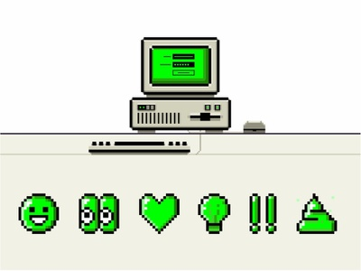 Pixel Computer Icons technology poop screen retro pixel pc password old school emoji mouse smile mac log in line keyboard illustration icon set graphic design computer