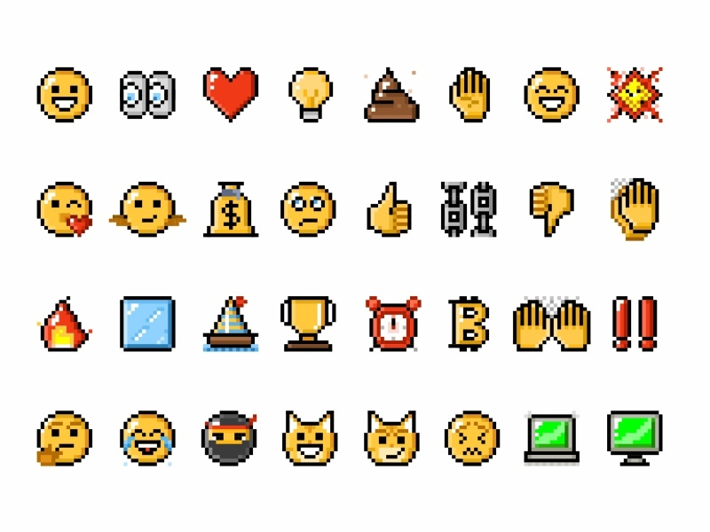 Pixel Emojis emoticons reactions colorful character 2d emoji set lol like chat smile face pixel icon set stickers mssages messenger illustration icons emoji charcaters