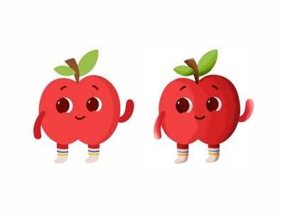 Apple 🍎 hello happy red vector sweet vegetables healt food mark logo character baby smile expresion face cute flat texture fruit apple
