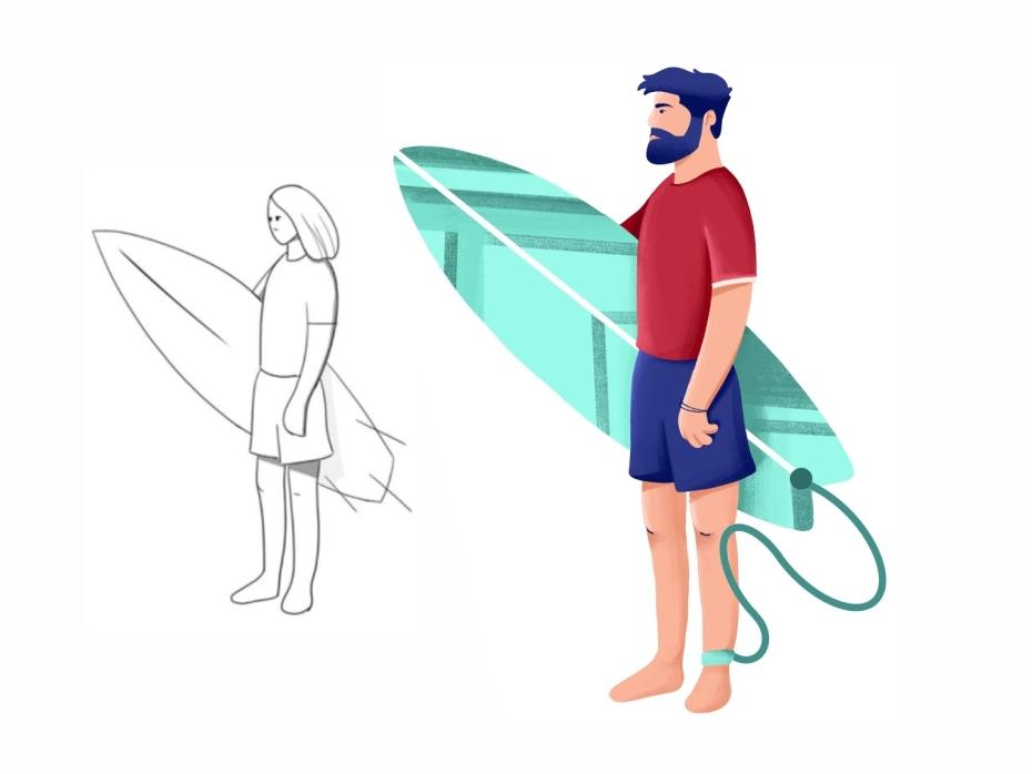 Surfer Dude 🏄 beard colorful cute srfer dude guy procreate sketch draw texture surfing surfer surfboard sun summer sand ocean beach character man surf