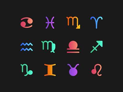 Zodiac Icons zodiac symbols colors colorful gradient icon set icons zodiac virgo taurus symbology scorpio sagittarius pisces libra leo gemini capricorn cancer astrology aquarius