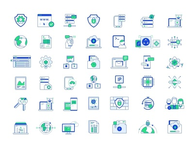 Systemongreed Icons web design virtual vps support ssd servers protect networking message line security icon set design connection compute cloud chat block storage access control