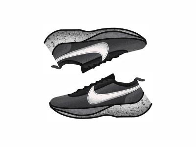 Nike Moon Racer vector trainer style sport sneakers sneaker shoes nike air jordan nike minimal lines kicks jordan illustration icon gradient footwear fashion design nike moon racer