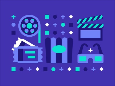 Movie Icons 🎟🎬🎞 filled outline cinema tv colorfur design illustration vector ticket movie clap shape abstract watch show popcorn movie icon set icon cutter 3d