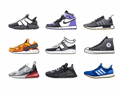 Snickers Set No.1 convers mobile app ui ux design ecommerce online store shop icon set trainer style sport sneakers sneaker shoes adidas kicks nike illustration icon graphic gradient footwear fashion design