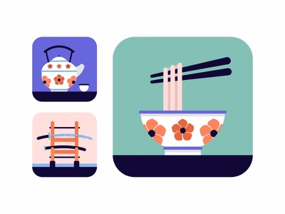 Japan Icons Set.No1 color art wabisabi tea cup noodle chopstick samurai sword sword bowl icons icon set flat design tea sushi oriental japanese japan illustration food culture