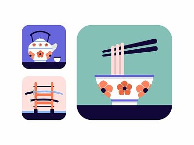 Japan Icons Set.No1 color art wabisabi tea cup noodle chopstick samurai sword sword bowl icons icon set flat design tea sushi oriental japanese japan illustration food culture
