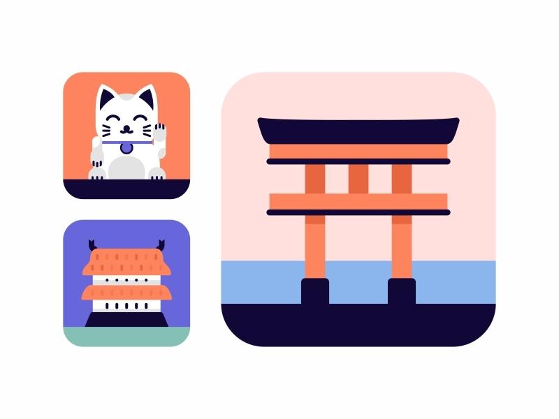 Japan Icons Set.3 tea traditional sushi samurai oriental noodle tori gate japanese japan illustration set icon icons food japan house design culture color chopstick art