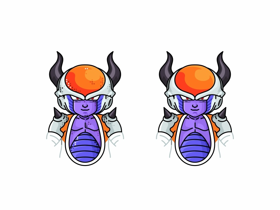 Chilled Frieza master roshi dots icon character design flat design chilled frieza vector piccolo line illustration goku frieza friends dragonball character avatar animation 2d