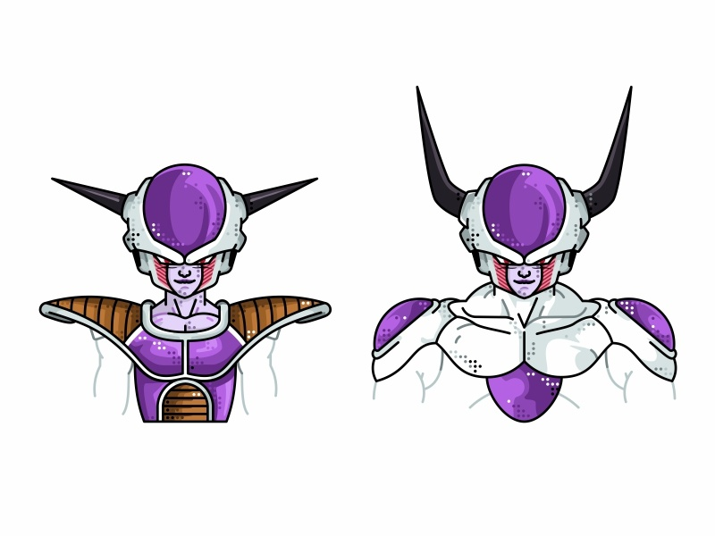 Frieza First & Second form vector piccolo master roshi line illustration icon goku super saiyan frieza design flat dragonball dots frieza character design character avatar animation 2d